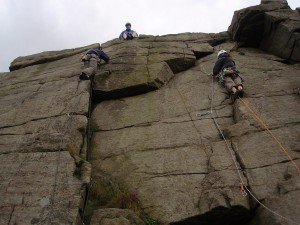 Debbie on her first out door lead, Peri climbing the HS