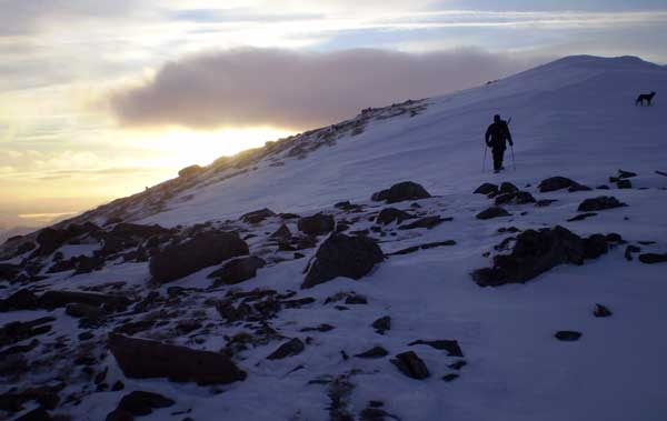 sunset at the summit of Stob Ghabhar