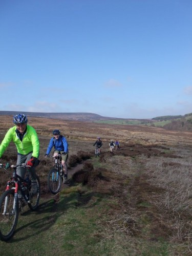 start of the ride, across open moorland in the sun