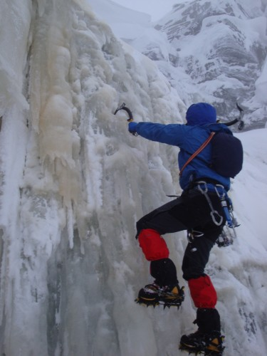 Ice bouldering on Kinder Downfall