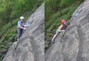 Contrasting styles and facial expresion on the crux of Tody's Wall.