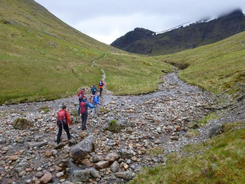 Hiking up the Lairig Eilde