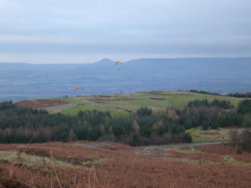 Paragliders at 'Green Bank' with Roseberry topping in the background