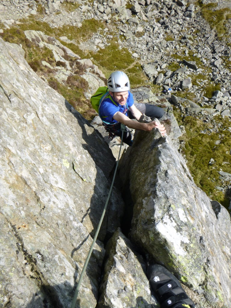 Pete on top of offwidth pitch