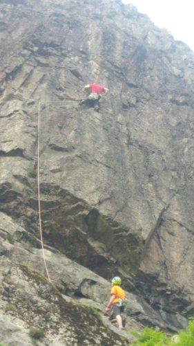 Jamie lead climbing route called Mendes VS at Ravens Crag